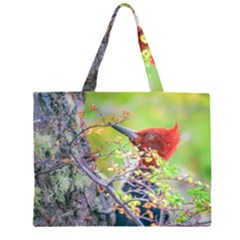 Woodpecker At Forest Pecking Tree, Patagonia, Argentina Zipper Large Tote Bag