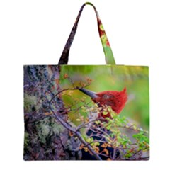 Woodpecker At Forest Pecking Tree, Patagonia, Argentina Medium Tote Bag