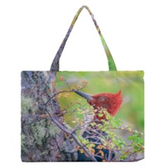 Woodpecker At Forest Pecking Tree, Patagonia, Argentina Medium Zipper Tote Bag
