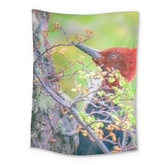 Woodpecker At Forest Pecking Tree, Patagonia, Argentina Medium Tapestry
