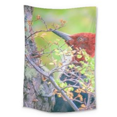 Woodpecker At Forest Pecking Tree, Patagonia, Argentina Large Tapestry