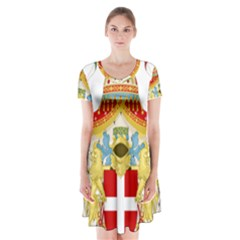 Coat of Arms of The Kingdom of Italy Short Sleeve V-neck Flare Dress