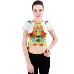 Coat of Arms of The Kingdom of Italy Crew Neck Crop Top