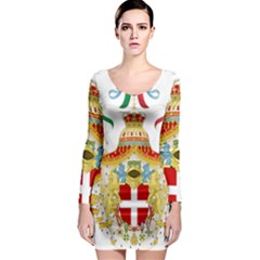 Coat of Arms of The Kingdom of Italy Long Sleeve Bodycon Dress