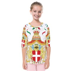 Coat of Arms of The Kingdom of Italy Kids  Quarter Sleeve Raglan Tee