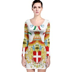 Coat of Arms of The Kingdom of Italy Long Sleeve Velvet Bodycon Dress
