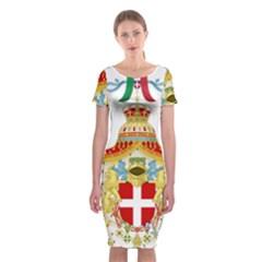 Coat of Arms of The Kingdom of Italy Classic Short Sleeve Midi Dress