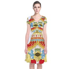 Coat of Arms of The Kingdom of Italy Short Sleeve Front Wrap Dress