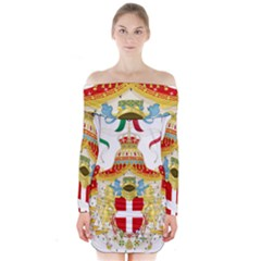 Coat of Arms of The Kingdom of Italy Long Sleeve Off Shoulder Dress