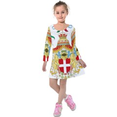 Coat of Arms of The Kingdom of Italy Kids  Long Sleeve Velvet Dress