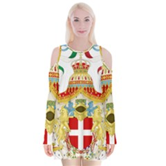 Coat of Arms of The Kingdom of Italy Velvet Long Sleeve Shoulder Cutout Dress