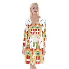 Coat of Arms of The Kingdom of Italy Long Sleeve Velvet Front Wrap Dress
