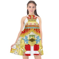 Coat of Arms of The Kingdom of Italy Halter Neckline Chiffon Dress