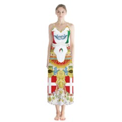 Coat of Arms of The Kingdom of Italy Button Up Chiffon Maxi Dress