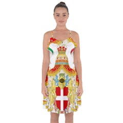 Coat of Arms of The Kingdom of Italy Ruffle Detail Chiffon Dress