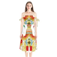 Coat of Arms of The Kingdom of Italy Shoulder Tie Bardot Midi Dress