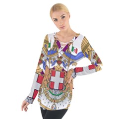 Greater Coat of Arms of Italy, 1870-1890  Women s Tie Up Tee