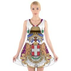 Greater Coat of Arms of Italy, 1870-1890  V-Neck Sleeveless Skater Dress