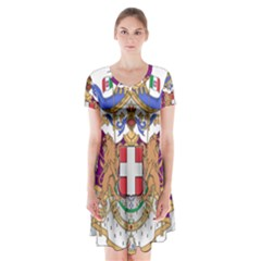 Greater Coat of Arms of Italy, 1870-1890  Short Sleeve V-neck Flare Dress