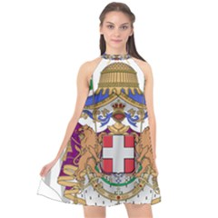Greater Coat of Arms of Italy, 1870-1890  Halter Neckline Chiffon Dress