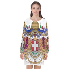 Greater Coat of Arms of Italy, 1870-1890  Long Sleeve Chiffon Shift Dress