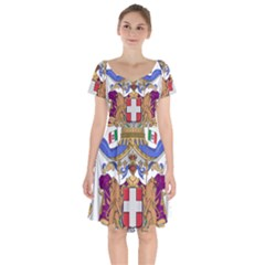 Greater Coat of Arms of Italy, 1870-1890  Short Sleeve Bardot Dress
