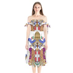 Greater Coat of Arms of Italy, 1870-1890  Shoulder Tie Bardot Midi Dress