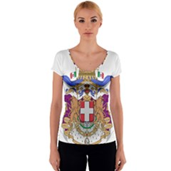 Greater Coat of Arms of Italy, 1870-1890 Women s V-Neck Cap Sleeve Top