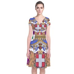 Greater Coat of Arms of Italy, 1870-1890 Short Sleeve Front Wrap Dress