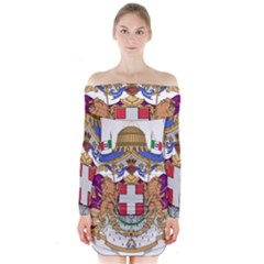 Greater Coat of Arms of Italy, 1870-1890 Long Sleeve Off Shoulder Dress