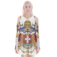 Greater Coat of Arms of Italy, 1870-1890 Velvet Long Sleeve Shoulder Cutout Dress