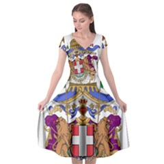Greater Coat of Arms of Italy, 1870-1890 Cap Sleeve Wrap Front Dress