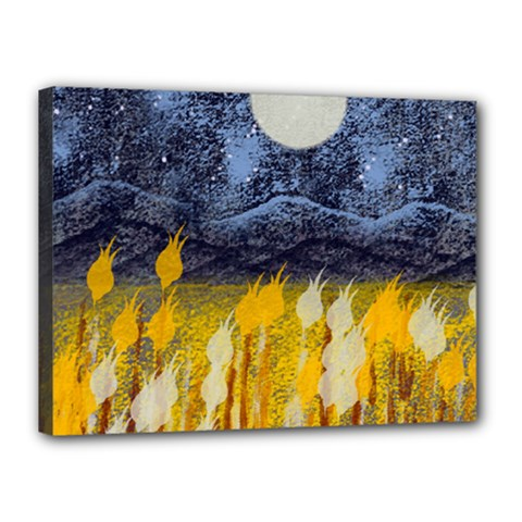 Blue And Gold Landscape With Moon Canvas 16  X 12