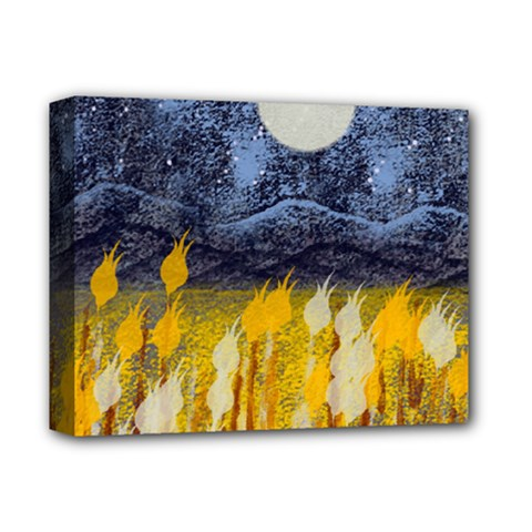 Blue And Gold Landscape With Moon Deluxe Canvas 14  X 11