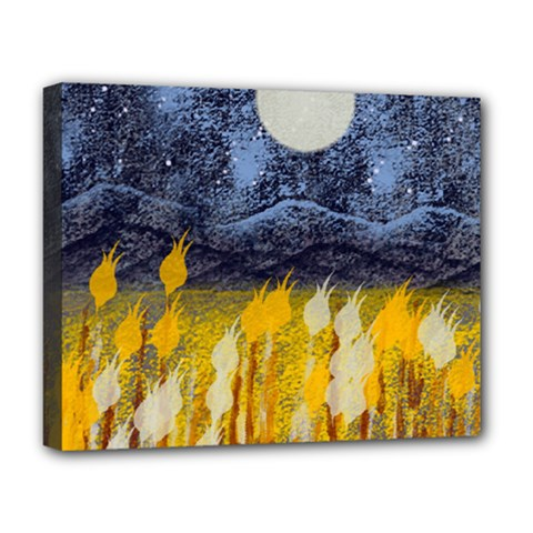 Blue And Gold Landscape With Moon Deluxe Canvas 20  X 16