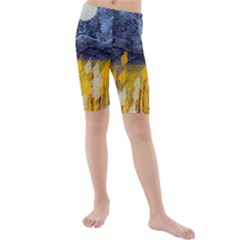Blue and Gold Landscape with Moon Kids  Mid Length Swim Shorts