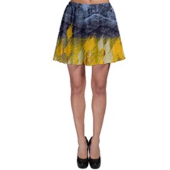 Blue and Gold Landscape with Moon Skater Skirt