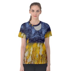 Blue and Gold Landscape with Moon Women s Cotton Tee