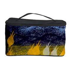 Blue And Gold Landscape With Moon Cosmetic Storage Case