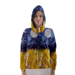 Blue and Gold Landscape with Moon Hooded Wind Breaker (Women)