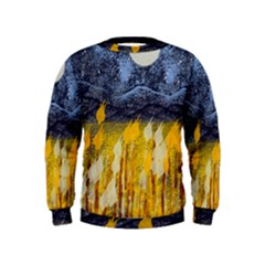 Blue and Gold Landscape with Moon Kids  Sweatshirt