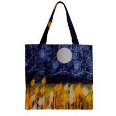 Blue And Gold Landscape With Moon Zipper Grocery Tote Bag