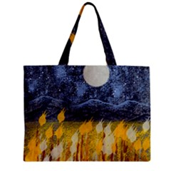 Blue and Gold Landscape with Moon Zipper Mini Tote Bag