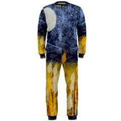 Blue and Gold Landscape with Moon OnePiece Jumpsuit (Men)