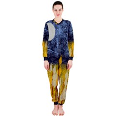 Blue and Gold Landscape with Moon OnePiece Jumpsuit (Ladies)