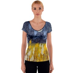 Blue and Gold Landscape with Moon Women s V-Neck Cap Sleeve Top