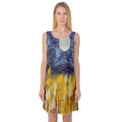 Blue And Gold Landscape With Moon Sleeveless Satin Nightdress