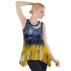 Blue And Gold Landscape With Moon Side Drop Tank Tunic
