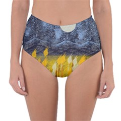 Blue And Gold Landscape With Moon Reversible High Waist Bikini Bottoms