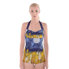 Blue And Gold Landscape With Moon Boyleg Halter Swimsuit